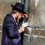 Jewish man reads from a siddur (Jewish prayer book) at the western (Wailing) Wall.