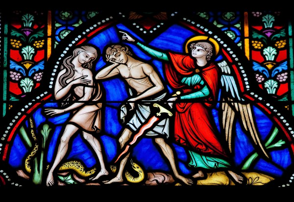 Adam and Eve Expelled from the Garden (stained glass in the Cathedral of Brussels, Belgium)