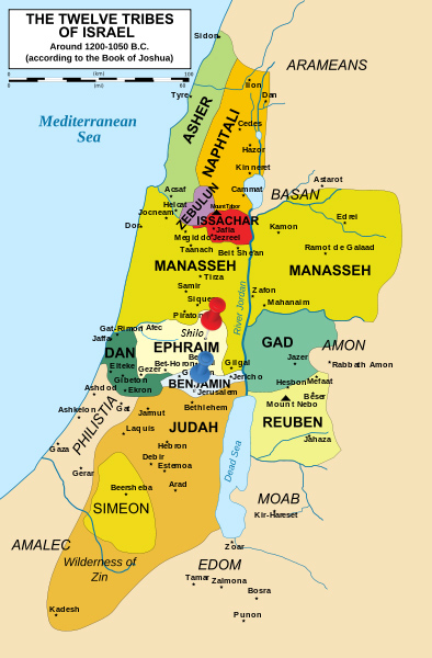 twelve tribes of Israel, Shiloh, map