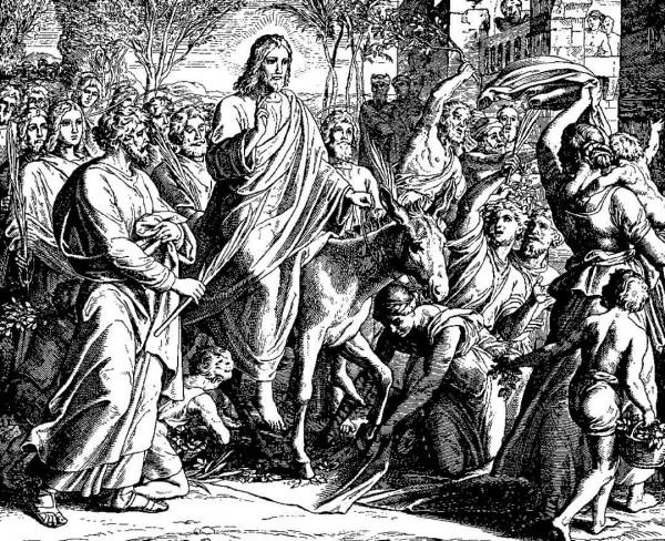 Palm Sunday Entry by Jesus, by Julius Schnorr von Carolsfeld (1794-1872)