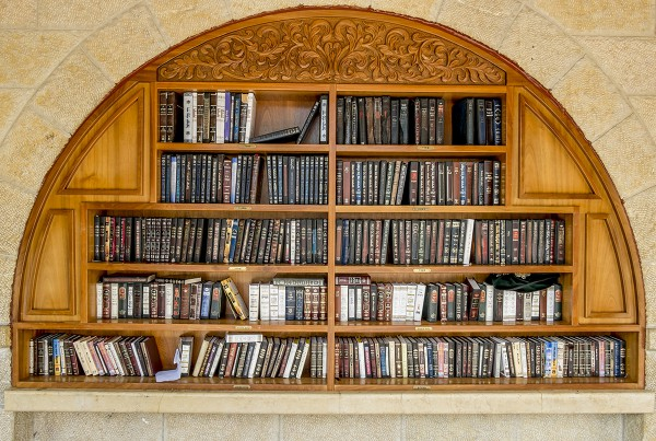 Shelves with religious books near the Western (Wailing) Wall