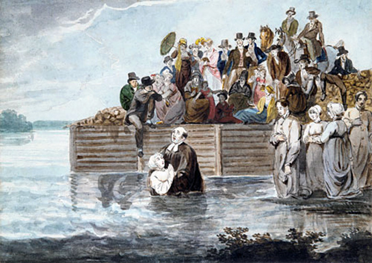 A Philadelphia Anabaptist Immersion during a Storm (1812), by Pavel Svinyin. Anabaptism began as a 16th century offshoot of the Protestant reformation. They shared the belief with other reformers that baptism in Scripture requires someone to confess his or her faith in Yeshua and be fully immersed.
