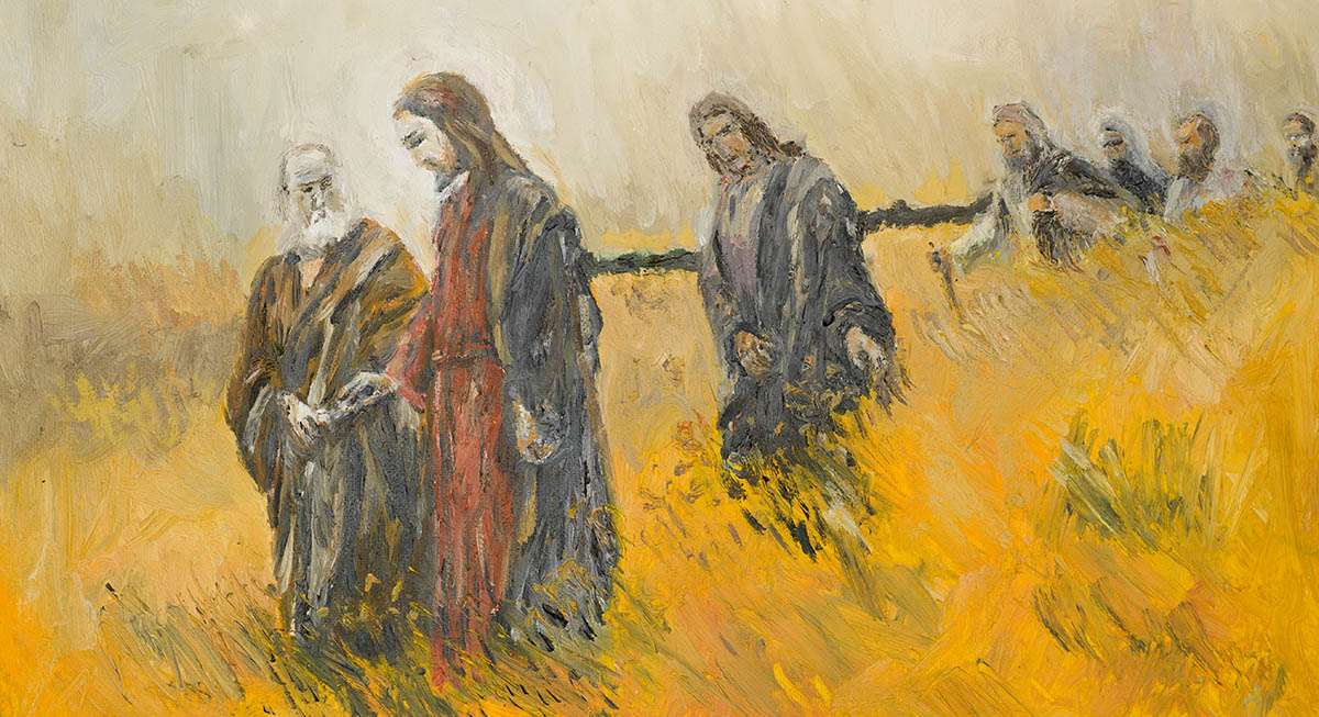 <b>Yeshua and His Disciples in a Meadow,<b> by unknown artist <em>(oil painting, stock image)</em>