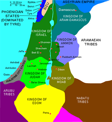 Map depicting the location of the Canaanites (Phoenicians) as well as Judah, Israel, Philistines, Arab nations and other tribes in 830 BC.