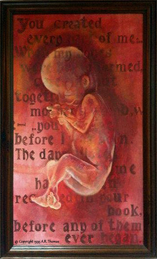 painting of baby in womb
