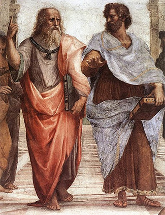 Plator points to heavens, theory of Forms, School of Athens painting by Rafael