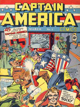 <b>Cover of Captain America Comics #1 (Mar. 1941)</b> shows the superhero punching Adolph Hitler. It sold 1 million copies. (Published by Timely Publications, art by Jack Kirby, fair use)