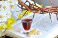 crown of thorns, wine glass, Bible, and flowers